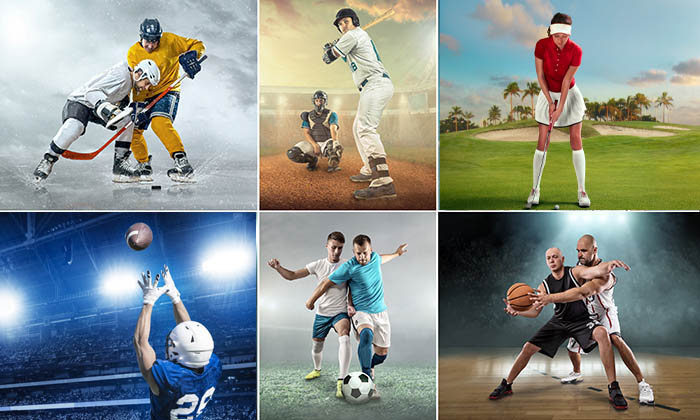 Collage of images with sport athletes in Baseball, soccer, football, beach volleyball. ice hockey. basketball and boxing.