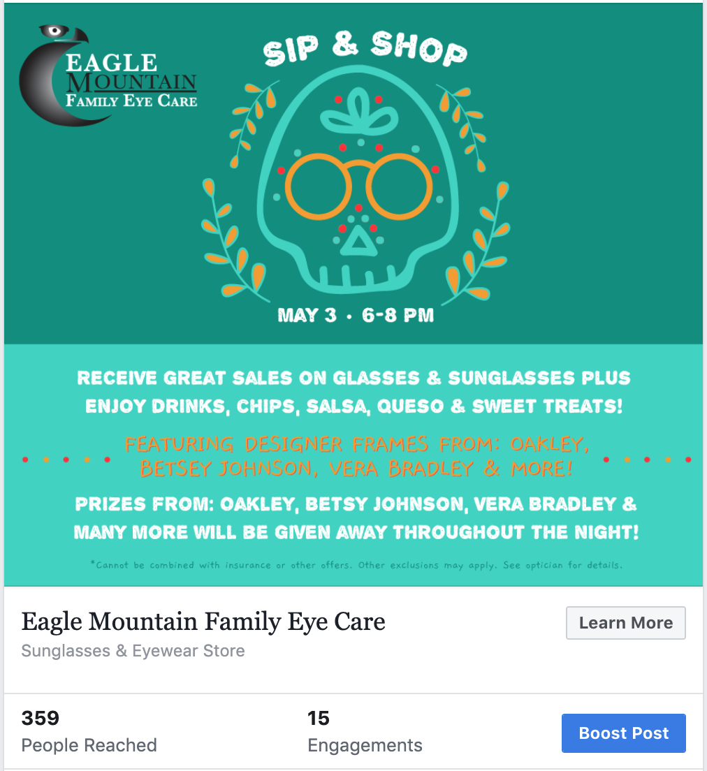 facebook markeing eye doctor event sip and shop
